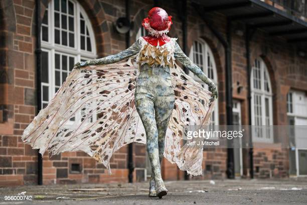 Emma Rawnsley wears a costume by Katie Powell as they preview their work for this year's Edinburgh College of Art Performance Costume Show on May 8...