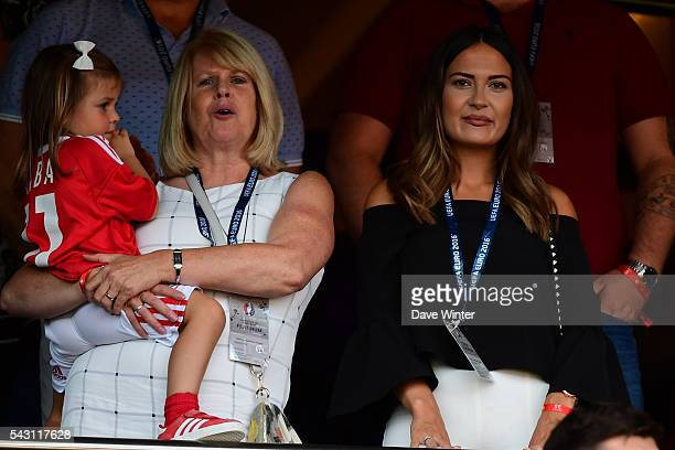 Emma Rhys Jones girlfriend of Gareth Bale of Wales and their daughter Alba during the European Championship match Round of 16 between Wales and...