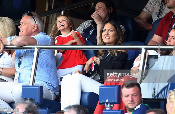 Emma RhysJones wife of Gareth Bale and their daughter Alba Violet Bale attend the UEFA EURO 2016 round of 16 match between Wales and Northern Ireland...