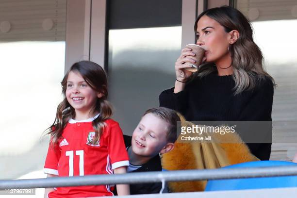 Emma RhysJones wife of Gareth Bale of Wales looks on during the 2020 UEFA European Championships group E qualifying match between Wales and Slovakia...
