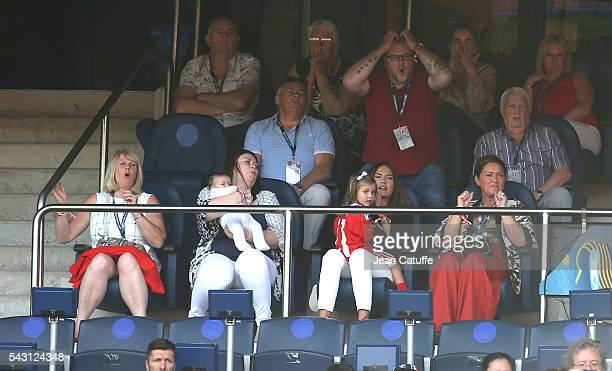 Emma RhysJones wife of Gareth Bale their daughters Alba Bale and baby Nava Bale and Bale's mother Debbie Bale attend the UEFA EURO 2016 round of 16...