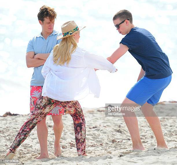 Emma Rigby Ed Speleers and Will Poulter are seen on the set of Plastic on January 16 2013 in Miami Beach Florida
