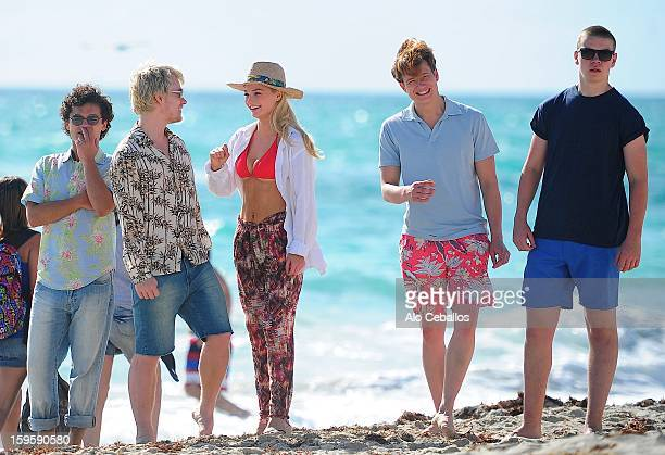 Emma Rigby Ed Speleers Will Poulter Alfie OwenAllen and Sebastian De Souza are seen on the set of 'Plastic' on January 16 2013 in Miami Beach Florida