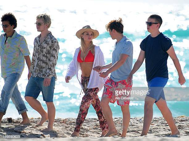 Emma Rigby Ed Speleers Will Poulter Alfie OwenAllen and Sebastian De Souza are seen on the set of Plastic on January 16 2013 in Miami Beach Florida