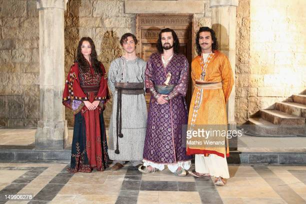 Emma Rigby Tom Payne Olivier Martinez Elyas M'Barek visit the set of 'The Physician' at MMC Studios Cologne on August 6 2012 in Cologne Germany