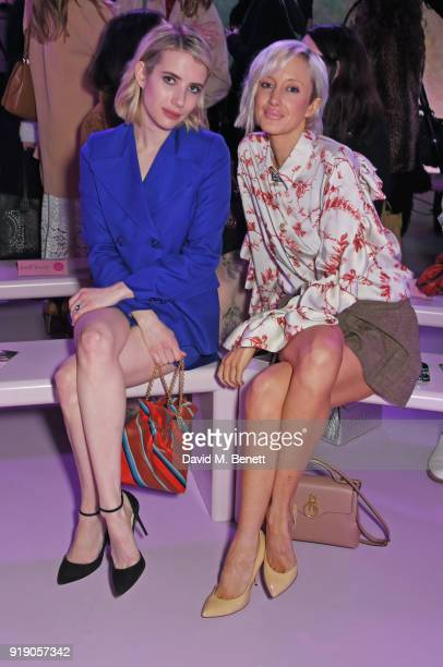 Emma Roberts and Andrea Riseborough attend the Mulberry 'Beyond Heritage' SS18 Presentation during London Fashion Week February 2018 at Spencer House...