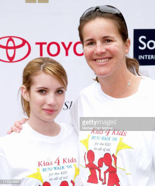 Emma Roberts and Brandi Chastain during First Annual Kids 4 Kids 5k Run/Walk April 30 2006 at Constellation Blvd and Avenue of the Stars in Century...