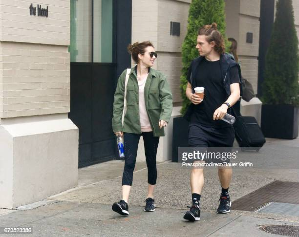 Emma Roberts and Evan Peters are seen on April 26 2017 in New York City