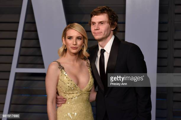 Emma Roberts and Evan Peters attend 2018 Vanity Fair Oscar Party Hosted By Radhika Jones Arrivals at Wallis Annenberg Center for the Performing Arts...