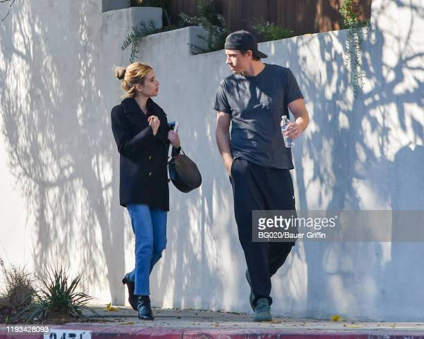 Emma Roberts and Garrett Hedlund are seen on January 12 2020 in Los Angeles California