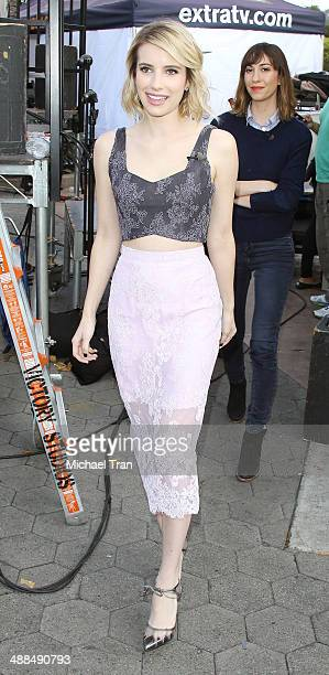 Emma Roberts and Gia Coppola make appearance on 'Extra' held at Universal City Walk on May 6 2014 in Universal City California