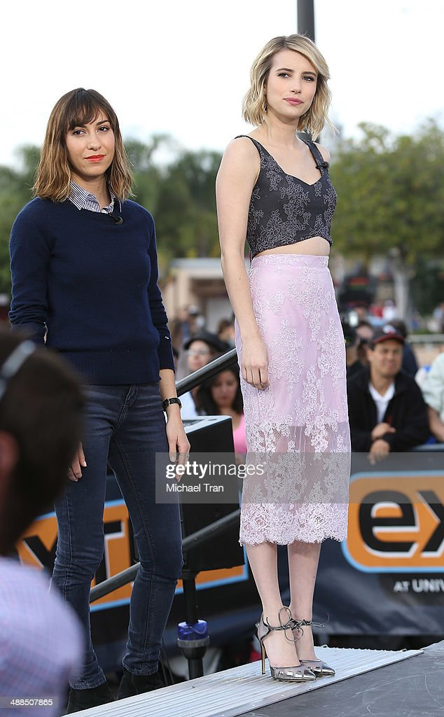 Emma Roberts and Gia Coppola make appearance on 'Extra' held at Universal City Walk on May 6, 2014 in Universal City, California.