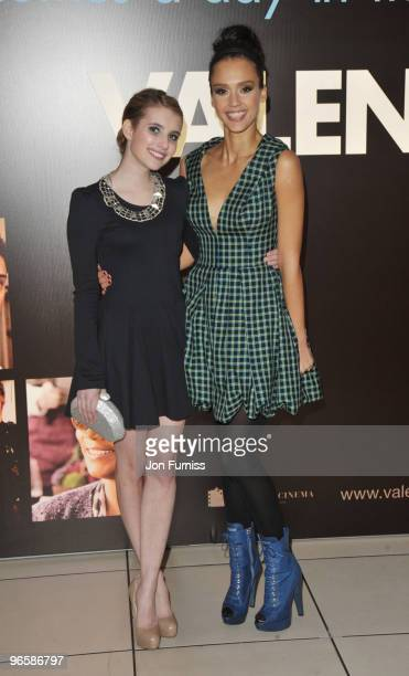 Emma Roberts and Jessica Alba attend the European Premiere of 'Valentine's Day' at Odeon Leicester Square on February 11, 2010 in London, England.