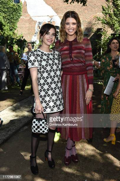 Emma Roberts and Katherine Schwarzenegger attends the Kate Spade New York front row during New York Fashion Week at Elizabeth Street Gardens on...
