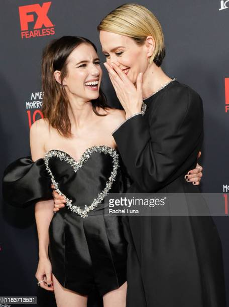 Emma Roberts and Sarah Paulson attend FX's American Horror Story 100th Episode Celebration at Hollywood Forever on October 26 2019 in Hollywood...