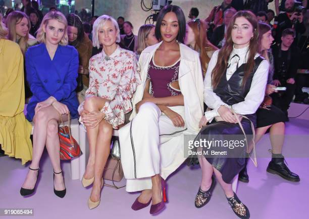 Emma Roberts Andrea Riseborough Jourdan Dunn and Millie Brady attend the Mulberry 'Beyond Heritage' SS18 Presentation during London Fashion Week...