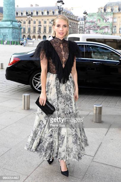 Emma Roberts arrive at a Dior dinner at the Place Vendome on July 2 2018 in Paris France