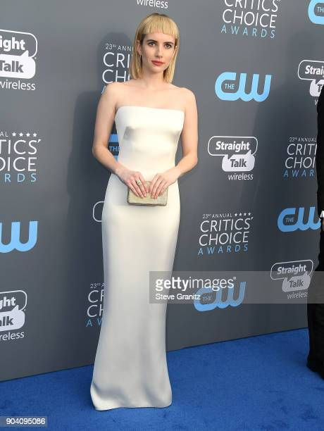 Emma Roberts arrives at the The 23rd Annual Critics' Choice Awards at Barker Hangar on January 11 2018 in Santa Monica California