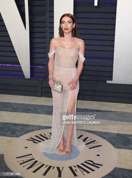 Emma Roberts arrives for the 2019 Vanity Fair Oscar Party at the Wallis Annenberg Center for the Performing Arts on February 24 2019 in Beverly Hills...