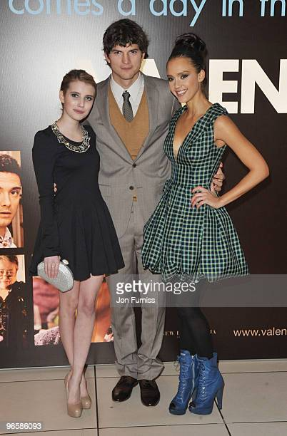 Emma Roberts, Ashton Kutcher and Jessica Alba attend the European Premiere of 'Valentine's Day' at Odeon Leicester Square on February 11, 2010 in...