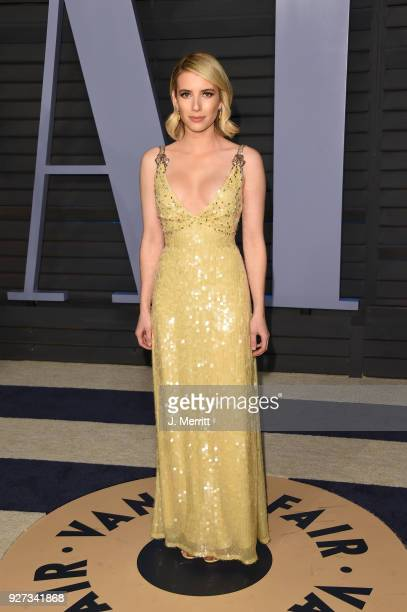 Emma Roberts attends the 2018 Vanity Fair Oscar Party hosted by Radhika Jones at the Wallis Annenberg Center for the Performing Arts on March 4 2018...