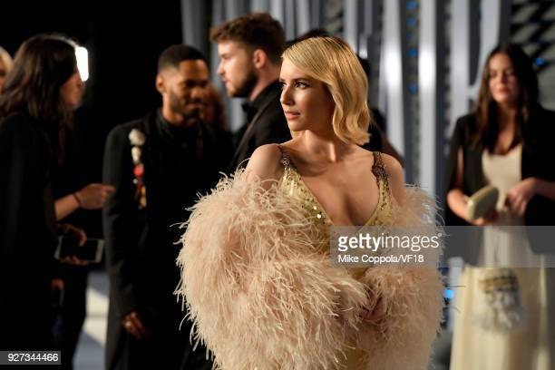 Emma Roberts attends the 2018 Vanity Fair Oscar Party hosted by Radhika Jones at Wallis Annenberg Center for the Performing Arts on March 4 2018 in...