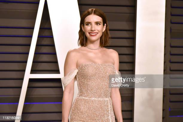 Emma Roberts attends the 2019 Vanity Fair Oscar Party at Wallis Annenberg Center for the Performing Arts on February 24 2019 in Beverly Hills...