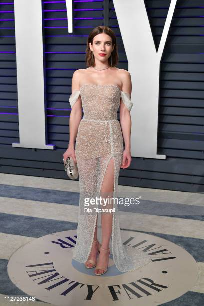 Emma Roberts attends the 2019 Vanity Fair Oscar Party hosted by Radhika Jones at Wallis Annenberg Center for the Performing Arts on February 24 2019...