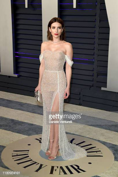 Emma Roberts attends the 2019 Vanity Fair Oscar Party Hosted By Radhika Jones Arrivals at Wallis Annenberg Center for the Performing Arts on February...