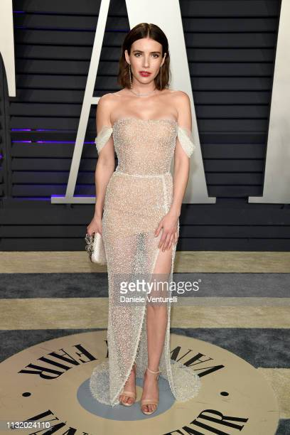 Emma Roberts attends the 2019 Vanity Fair Oscar Party Hosted By Radhika Jones - Arrivals at Wallis Annenberg Center for the Performing Arts on...