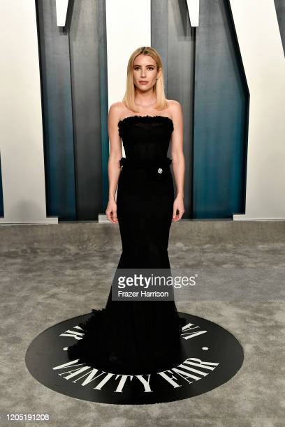 Emma Roberts attends the 2020 Vanity Fair Oscar Party hosted by Radhika Jones at Wallis Annenberg Center for the Performing Arts on February 09 2020...