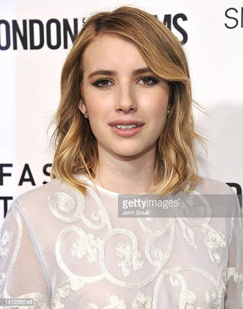 Emma Roberts attends the British Fashion Council's LONDON Show ROOMS LA opening cocktail party at Smashbox Studios on March 12, 2012 in West...