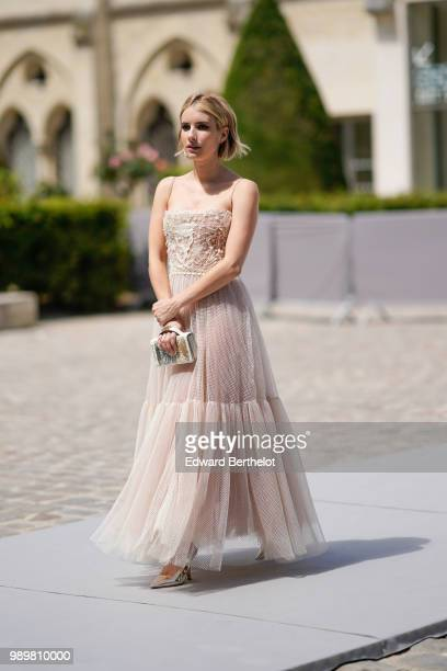 Emma Roberts attends the Dior show during Paris Fashion Week Haute Couture Fall Winter 2018/2019 on July 2 2018 in Paris France