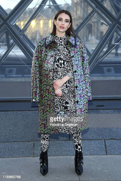 Emma Roberts attends the Louis Vuitton show as part of the Paris Fashion Week Womenswear Fall/Winter 2019/2020 on March 05 2019 in Paris France