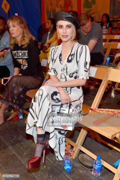 Emma Roberts attends the Moschino Spring/Summer 19 Menswear and Women's Resort Collection at Los Angeles Equestrian Center on June 8 2018 in Burbank...
