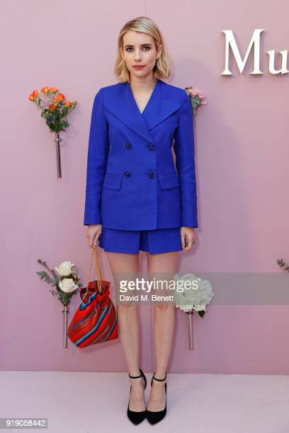 Emma Roberts attends the Mulberry 'Beyond Heritage' SS18 Presentation during London Fashion Week February 2018 at Spencer House on February 16 2018...