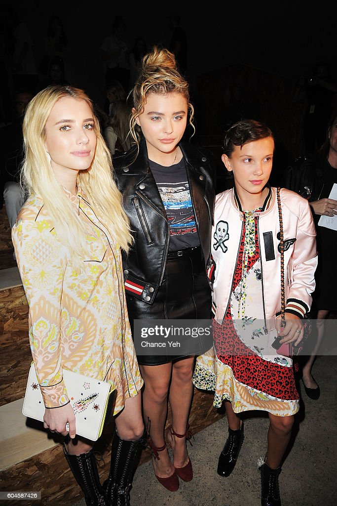 Emma Roberts, Chloe Grace Moretz and Millie Bobby Brown attend the Coach 1941 Women's Spring 2017 Show at Pier 76 on September 13, 2016 in New York City.