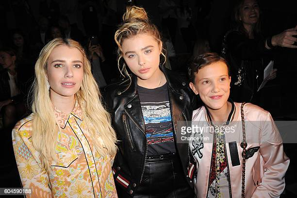 Emma Roberts Chloe Grace Moretz and Millie Bobby Brown attend the Coach 1941 Women's Spring 2017 Show at Pier 76 on September 13 2016 in New York City