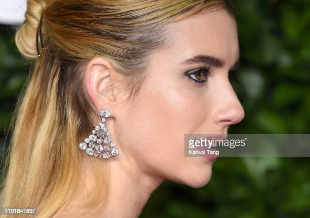 Emma Roberts, Earring detail,attends The Fashion Awards 2019 at the Royal Albert Hall on December 02, 2019 in London, England.