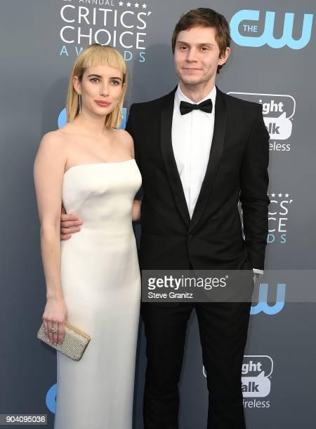 Emma Roberts Evan Peters arrives at the The 23rd Annual Critics' Choice Awards at Barker Hangar on January 11 2018 in Santa Monica California