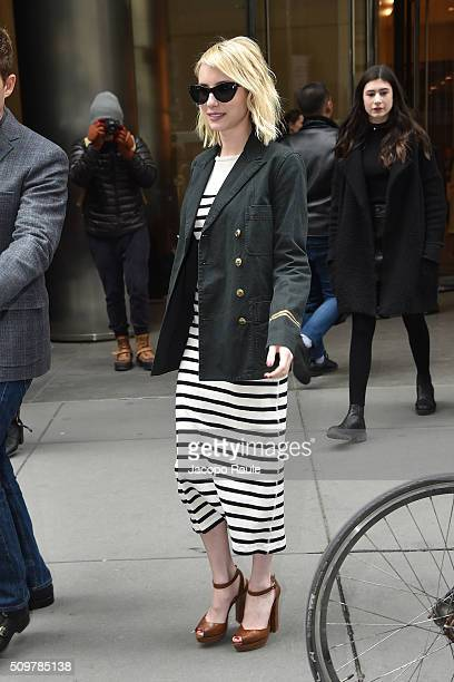 Emma Roberts is seen leaving the Polo Ralph Lauren presentation during Fall 2016 New York Fashion Week on February 12 2016 in New York City
