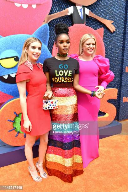 Emma Roberts Janelle Monáe and Kelly Clarkson attend STX Films World Premiere of UglyDolls at Regal Cinemas LA Live on April 27 2019 in Los Angeles...