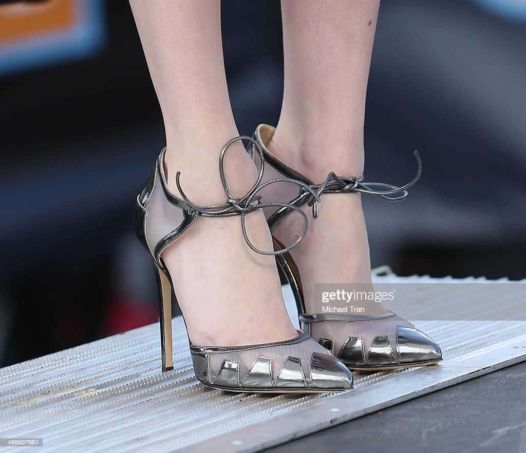 Emma Roberts (shoe detail) makes appearance on 'Extra' held at Universal City Walk on May 6, 2014 in Universal City, California.