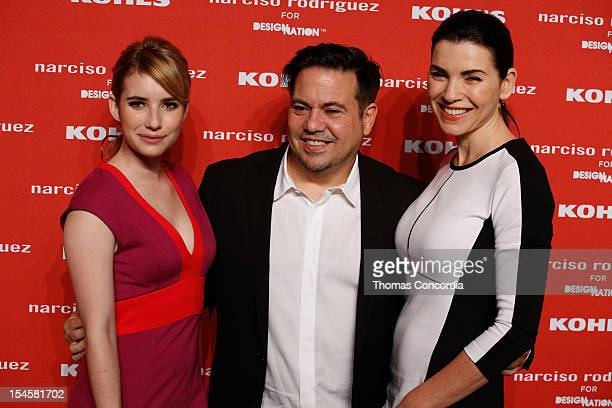 Emma Roberts Narciso Rodriguez and Julianna Margulies attend Narciso Rodriguez Kohl's Collection launch party at the IAC Building on October 22 2012...