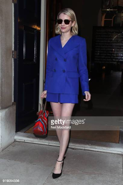 Emma Roberts seen attending the Mulberry show at Spencer House during LFW February 2018 on February 16 2018 in London England