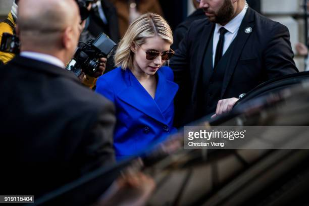 Emma Roberts seen outside Mulberry during London Fashion Week February 2018 on February 16 2018 in London England