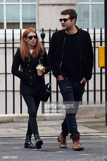 Emma Roberts seen with Christopher Hines shopping and at a cafe in Mayfair on June 1 2016 in London England