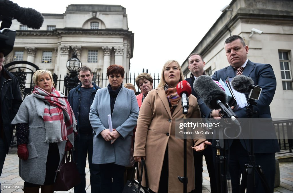Emma Rogan, daughter of the murdered Adrian Rogan speaks on behalf of the rest of the Loughinisland family members at Belfast High Court on January 12, 2018 in Belfast, Northern Ireland. The judge has delayed his ruling on a police ombudsman's report into the murders of six catholic men in 1994 who were shot by loyalist gunmen as they watched a World Cup football match in the Heights Bar in Loughinisland. In June 2016, the police ombudsman ruled there had been collusion between some police officers and the gunmen however in December, a judge ruled that conclusion was 'unsustainable in law'. The case is adjourned until next week following a late change in the police ombudsman's legal team.