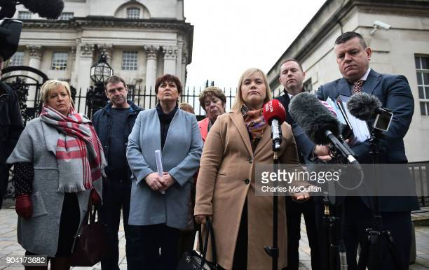 Emma Rogan daughter of the murdered Adrian Rogan speaks on behalf of the rest of the Loughinisland family members at Belfast High Court on January 12...