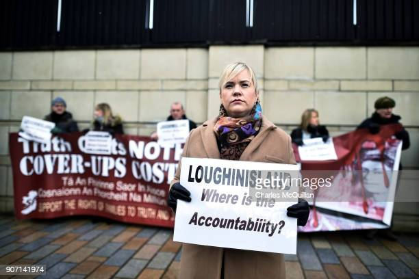 Emma Rogan the daughter of Adrian Logan who was murdered by loyalist gunmen in the Heights Bar Loughinisland protests outside Belfast High Court on...